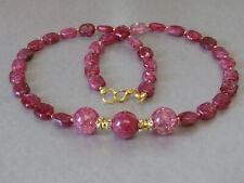 Raspberry Crackle Quartz Hexagonal Gems & Gold Plate Sparkle Beaded Necklace