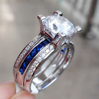 Blue Sapphire Cz Engagement Wedding Ring Set For Women 925 Sterling Silver Round