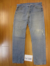 used Levis 501 destroyed feathered grunge jean tag 38x34 meas 36x33.5 16328F