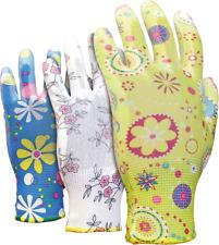 Ladies gardening gloves PU coated 3 pairs Coated wit polyurethane