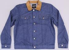 Boohoo Men's Faux Suede Collar Denim Trucker Jacket GS2 Mid Blue Size XL NWT