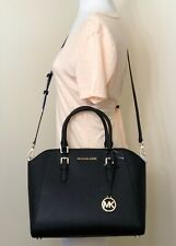 Michael Kors Ciara Black Saffiano Leather Large Satchel Bag