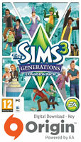 THE SIMS 3 GENERATIONS EXPANSION PACK PC AND MAC ORIGIN KEY