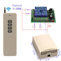 300M 12V 4 Channel Wireless Switch Relay Module Output 4CH Transmitter Receiver