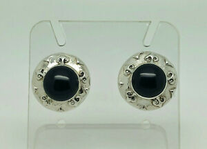 Gorgeous Vintage Studio Crafted Sterling Silver Onyx Ornate Large Stud Earrings
