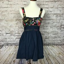 RAVI FAMOUS LONDON Womens Navy Floral Dress With Tie In The Back Size XS