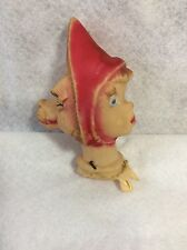 Hand Puppets Rubber Molded Head Vtg Little Red Riding Hood Wolf Double Sided