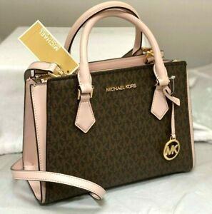 New Michael Kors MK Signature Crossbody Bag Purse Messenger Brown / Pink
