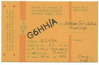 SUSSEX - HASTINGS HOBBIES EXHIBITION  1954 QSL Radio Confirmation Card  G6HH/A