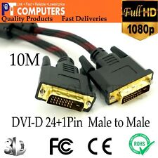 10M Full HD DVI-D 24+1P Cable Cord Male to Male Gold-Plated TV Monitor PC 1080P