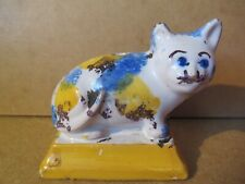 Rare chat porte-plume céramique XVIII-XIXème.Toulouse,Martres 8x5x8cm.Bon état.