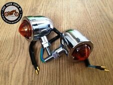 Pair Of Cafe Racer Motorcycle Bike Chrome Metal Turn Signals Indicator Lights