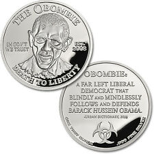 In Government We Trust Obombie Obama Zombie 1 oz .999 Silver Proof Round Coin