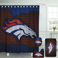Denver Broncos Bathroom Rugs 4PCS Shower Curtain Bath Mat Toilet Lid Cover