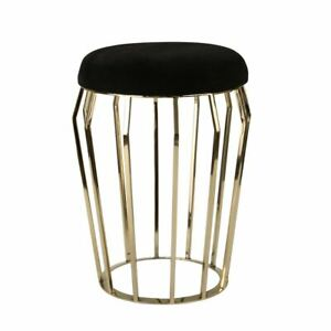 Gold Stool with Black Cushion