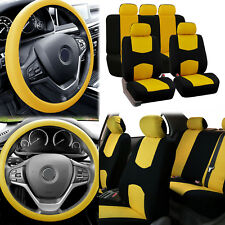 Flat Cloth Car Seat Covers YellowBlack 2Row Set w/ Silicone Steering Wheel Cover