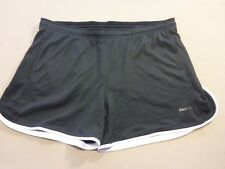 067 WOMENS NWOT REEBOK PLAY DRY BLACK / WHITE TRACK SHORTS LRG $70 RRP.