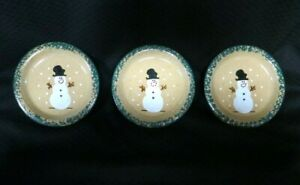 Three Rivers Pottery Snowman 6 Inch Bread and Butter Plates Set of 3