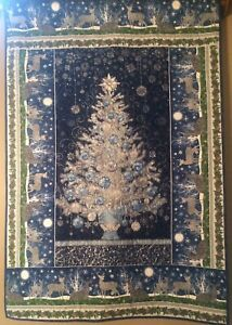 "Christmas Tree Quilt Navy Holiday Silver Metallic 42""X62 Under The Pines Border"