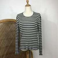 Country Road Long Sleeve Stripe Top Size S 10 Round Neck Stretch Cotton