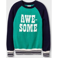 """Cat & Jack Cozy and Comfy """"AWESOME"""" Blue and Green Holiday Sweater LARGE 10/12"""