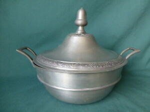 Large Antique Pewter Covered Bowl With Acorn Finial and  Touch Marks