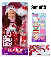 "My Life As Hello Kitty 18"" Brunette Brown Doll Outfit Sleeping Bag Accessory Set"