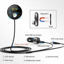 Dual USB Car Charger kit aux audio receiver FM Transmitter Bluetooth Handsfree