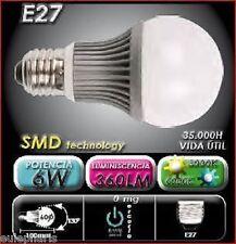 Bombilla Estandar E27 LED SMD 6W, Luz Calida 3000K Clase A, Bajo Consumo