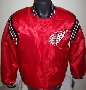 DETROIT RED WINGS STARTER Satin Snap Down Jacket NHL Traditional RED M, L, XL 2X