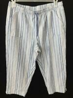 Cathy Daniels lounge capris pants size L large blue white stripe elastic waist