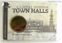 2012 $5 TOWN HALLS SYDNEY Coin on Card