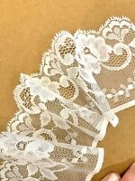 Vintage English Floral Lace Trim In Ivory Cream Heirloom 75 Mm Scallop Vine Pm