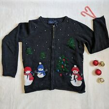 Ugly Christmas Sweater Cardigan Holiday Party Snowmen Beaded vintage