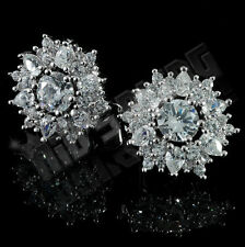 18K White Gold Plated ICED OUT Simulated Diamond Round Stud Micropave Earrings