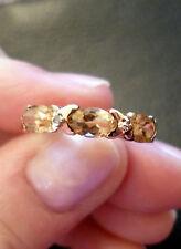 9ct Gold Citrine & Diamond Eternity Ring Size M