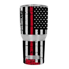 Skin Decal für rtic 30 OZ Tumbler/Thin Red Line gedämpften Flagge USA Feuer Axt bin