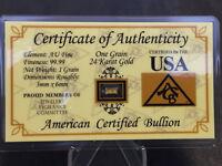 999.9 Gold Goldbarren 1 Gr. je 0,0648 Gramm im Blister Zertifiziert