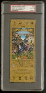John Elway HOF Broncos Super Bowl XXXII Full Ticket Signed Auto PSA 8