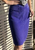 Vintage 80s High Waisted Corduroy Midi Purple Pencil Skirt