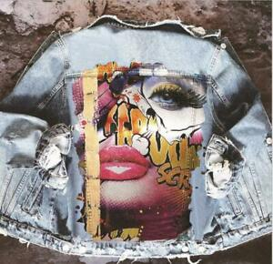 Women's Fashion Graffiti Printed Hip Hop Jeans Denim Jacket Casual Outwear SKGB