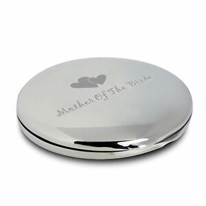 Mother of The Bride Round Compact Mirror, Heart Motif -Engraved Wedding Day Gift