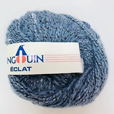 Pingouin Eclat Rayon Acrylic Blend Worsted Yarn Knitting Crochet Color Blue #7