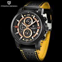 43mm PAGANI Yellow Big Face PVD Chronograph Date Quartz Mechanical men's Watch
