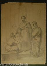 DISEGNO BOZZETTO DRAWING 1800 MATITA  LAPIS SCENA RELIGIOSA reliquia relic