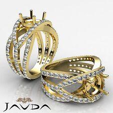 Diamond Engagement Designer Ring Round Semi Mount Halo Pave 18k Yellow Gold 1.2C