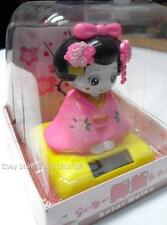 Solar Powered Power Japanese Kimono Car Bobble Head Geisha Girl Lady Doll Toy #P