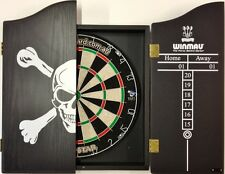 PRO STAR Micro Wire Dart board SET With Winmau Black Skull Dart Cabinet 6 Darts.