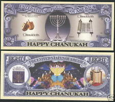 1 'CHANUKAH' NOVELTY DOLLAR BILL ~ ~ ~ ~ ~ boys girls kids Chanuka Gift present