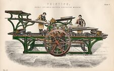 1880 HAND COLOURED PRINT ~ PRINTING MACHINE DOUBLE CYLINDER GRIPPER PERFECTING
